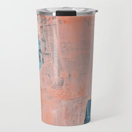 Delight [3]: a vibrant minimal abstract painting in blue and coral by Alyssa Hamilton Art Travel Mug