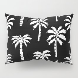 Palm Trees linocut black and white tropical summer art minimalist decor Pillow Sham