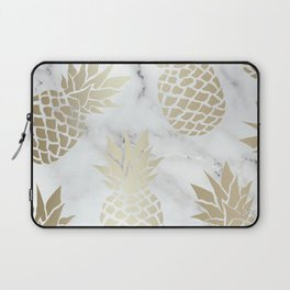 Tropical Pineapple, Marble and Gold Abstract Pattern Laptop Sleeve
