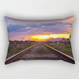 Railroad Tracks Sunset Tequila Mexico Rectangular Pillow