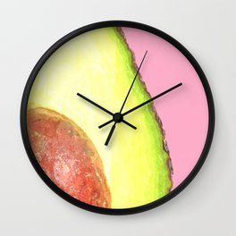 Avocado Pink Background Wall Clock
