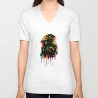 soldier V-neck T-shirts featuring modern soldier by barmalisiRTB