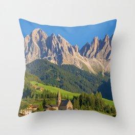 Italian Dolomites, South Tyrol Panoramic View Throw Pillow