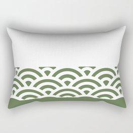 Rainbow Trim Forest Dark Green Rectangular Pillow