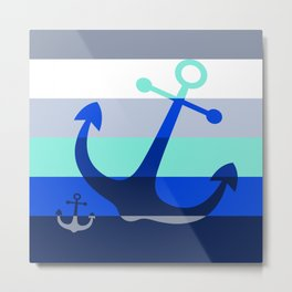 Navy Anchors: Beneath the Sea Metal Print