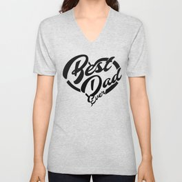 give big love heart to best dad Unisex V-Neck