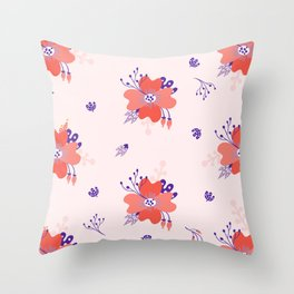 Coral and Purple flower pattern Throw Pillow