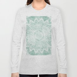 BOHEMIAN FLOWER MANDALA IN TEAL Long Sleeve T-shirt