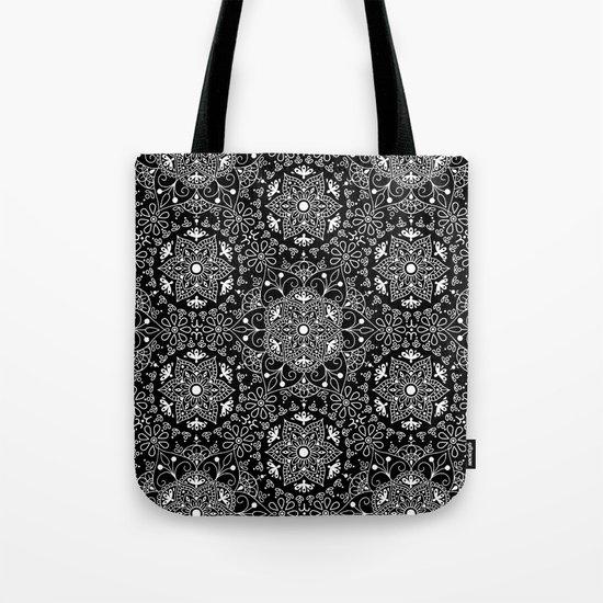 Mandala_Black and White Tote Bag