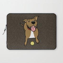 Big Smiley Brown Dog with Tennis Ball Laptop Sleeve