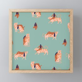 Tigers and girls Framed Mini Art Print