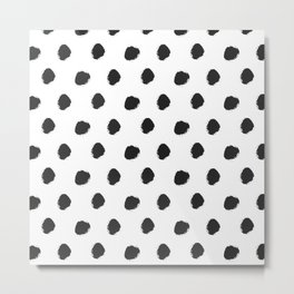 Black white hand painted watercolor polka dots Metal Print