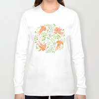 orange pattern Long Sleeve T-shirts featuring Orange Orchids Pattern by Helga Wigandt