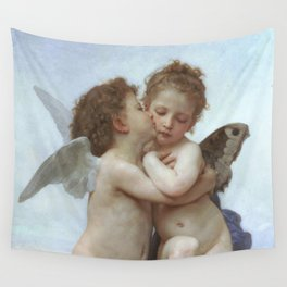CUPID AND PSYCHE AS CHILDREN - WILLIAM ADOLPHE BOUGUEREAU  Wall Tapestry