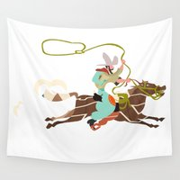 cowboy Wall Tapestries featuring Cowboy by Design4u Studio