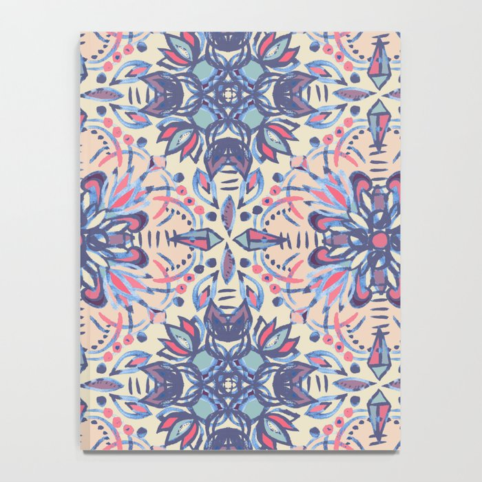 Protea Pattern in Blue, Cream & Coral Notebook