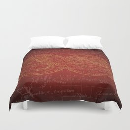 Antique Navigation World Map in Red and Gold Duvet Cover
