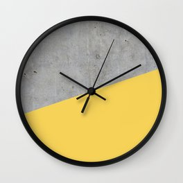 Concrete and primrose yellow color Wall Clock