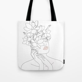Minimal Line Art Woman with Magnolia Tote Bag
