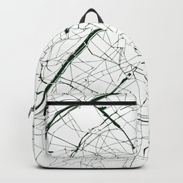 Paris France Minimal Street Map - Forest Green and White Backpack