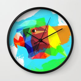 Multicolor parrot print, animal printable wall art, colored parrot, colored wall art, colored decor Wall Clock