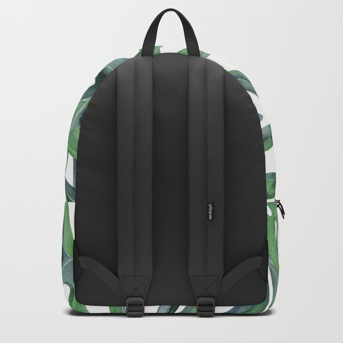 Tropical Palm Leaves Green on White Backpack