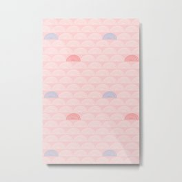 Mid Century Modern Abstract Rainbows And Scales Pattern Pink Metal Print