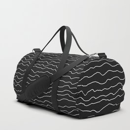 Black with White Squiggly Lines Duffle Bag