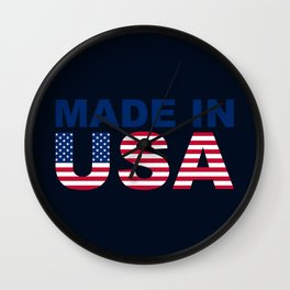Made in USA text with USA flag Wall Clock