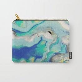 Blue & Yellow Marble Ocean Minimalist Pour Painting Carry-All Pouch