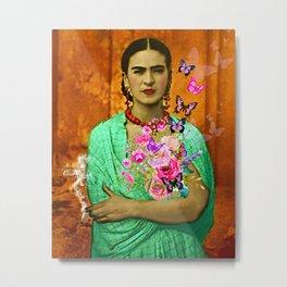 Frida Butterflies Roses Smoking Metal Print