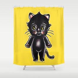 Black Cat Kewpie Shower Curtain