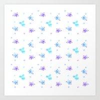 Watercolor Floral Print (blue + violet) Art Print