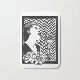 Lady Day (Billie Holiday block print blk) Bath Mat