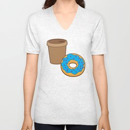a coffee and a donut Unisex V-Neck