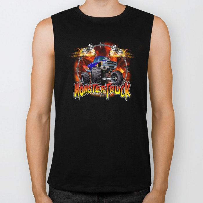 Monster Truck blue on Fire                                          Biker Tank