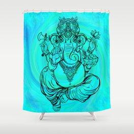 Lord Ganesha on Aqua Spiral Shower Curtain