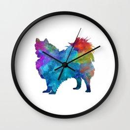 Pomeranian in watercolor Wall Clock