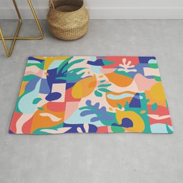 Amalfi Abstraction Pattern / Colourful Modern Shapes Rug