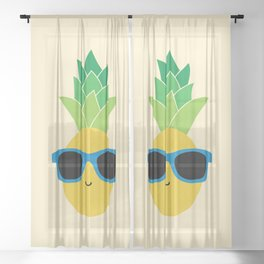 Cool Pineapple with Blue Sunglasses Sheer Curtain