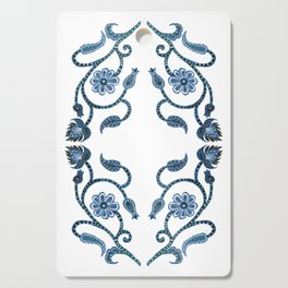 Blue Paisley Double Heart 1 Cutting Board