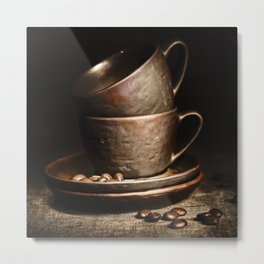 coffee cups and beans on rustic table Metal Print