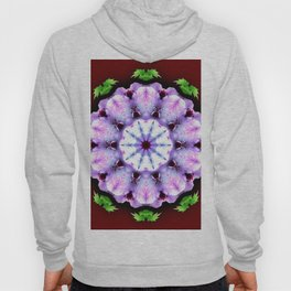 Purple White Flower on Burgundy Hoody