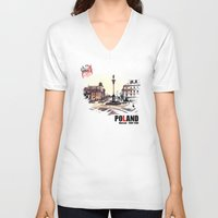 poland V-neck T-shirts featuring Poland, Warsaw 1890-1900 by viva la revolucion