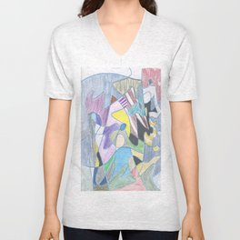 Abstract Color Doodle Unisex V-Neck