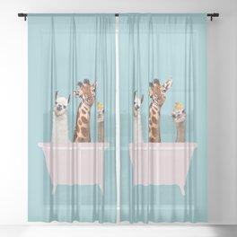 Playful Gangs in Bathtub Blue Sheer Curtain