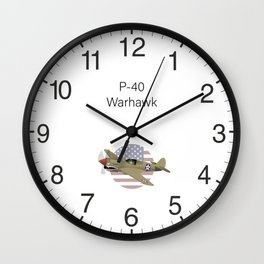 WW2 P-40 Warhawk Airplane Wall Clock