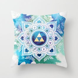 A Legendary Blue/Green Zelda Mandala Throw Pillow