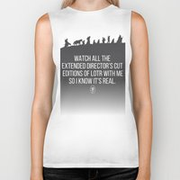 lotr Biker Tanks featuring LOTR - Devin's Shirt by TracingHorses