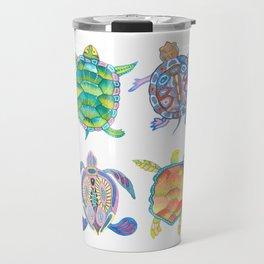 Four Sea Turtle Friends -multicolor theme Travel Mug